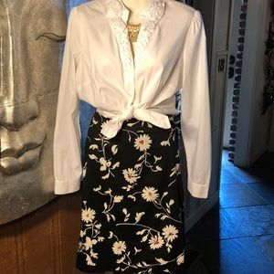 Talbots Black Floral Design Pencil Skirt
